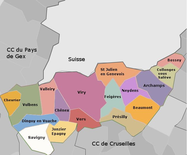 carte communes genevois