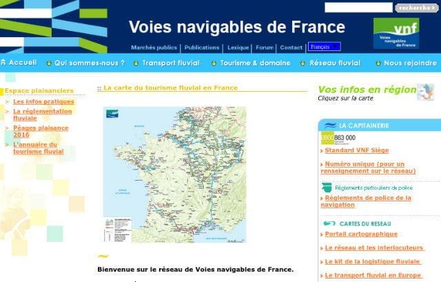 Carte du Tourisme fluvial en France