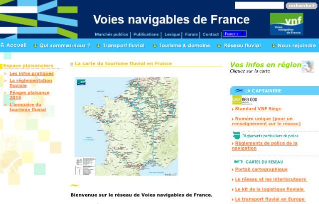 Carte du Tourisme fluvial en France