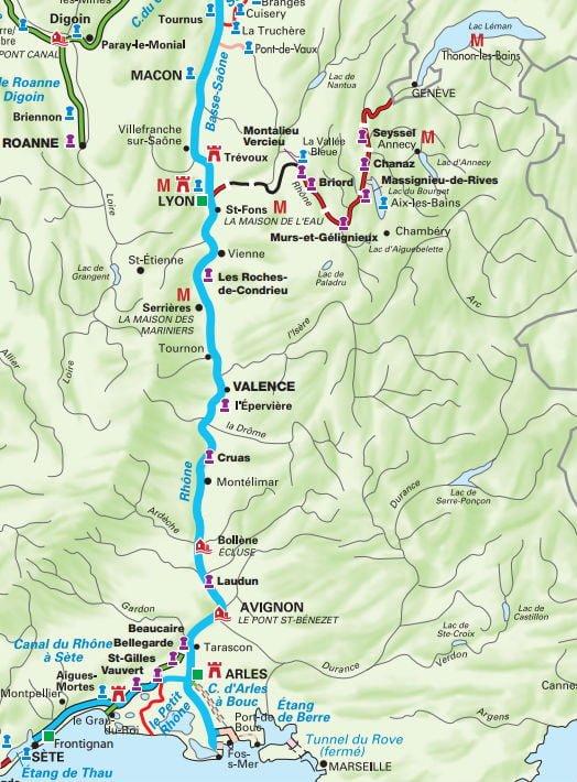 carte tourisme fluvial sur le Rhone