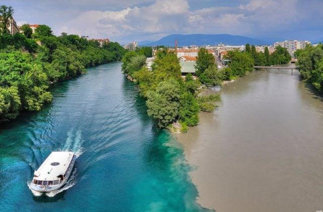 confluence entre Rhône et Arve