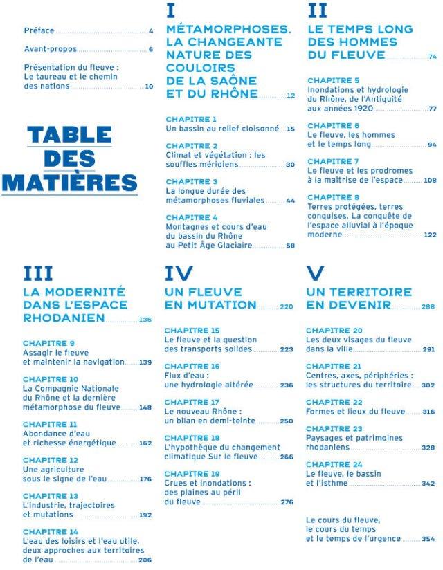 Table des matières : Pour saluer le Rhône