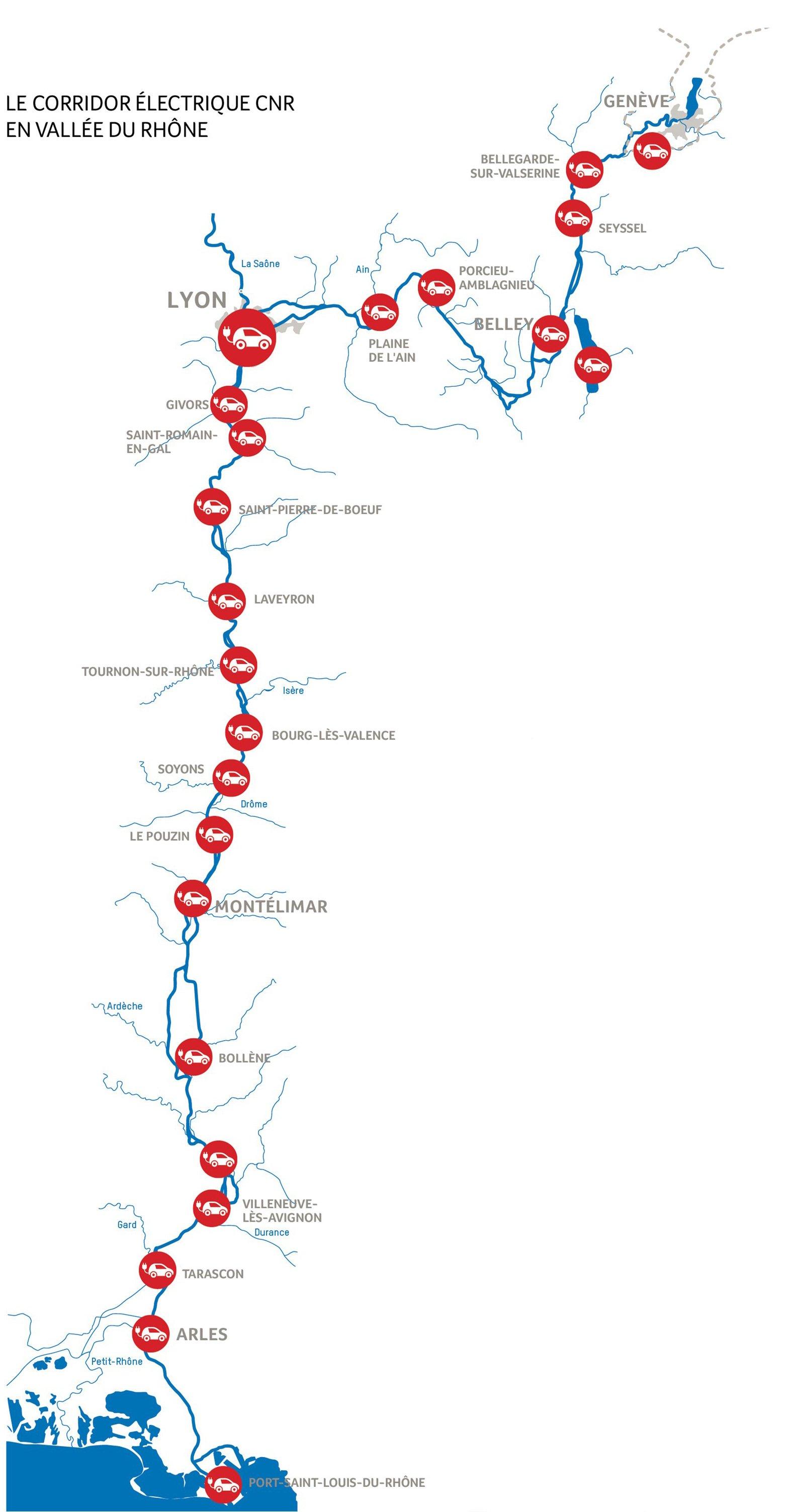 Carte : Station de recharge pour véhicules électriques, corridor électrique CNR