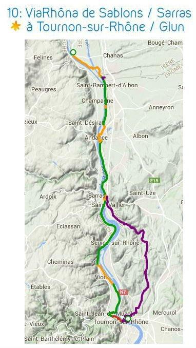 Carte ViaRhona de Sablons à Tournon