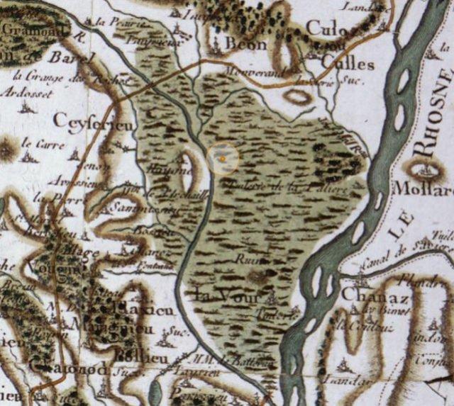 Marais de Lavours, carte de Cassini