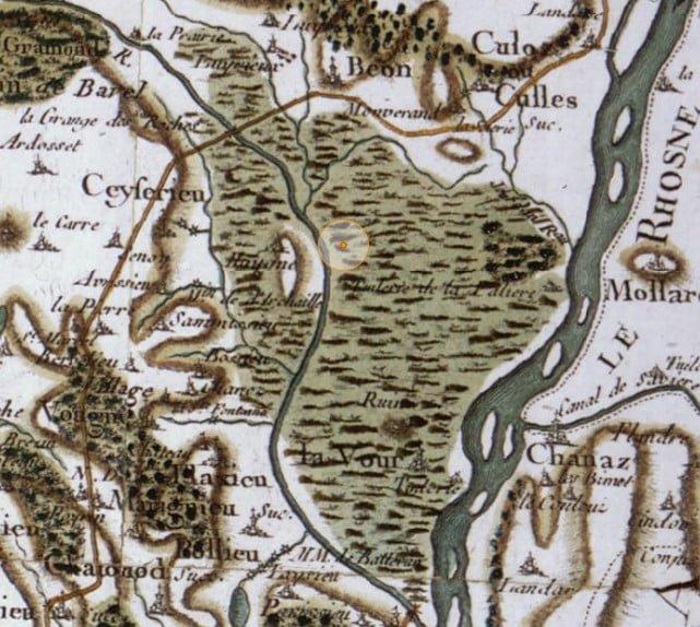 Marais de Lavours, carte de Cassini [extrait Géoportail]