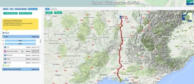 VNF Lyon Port saint louis - Calcul d'itinéraire fluvial