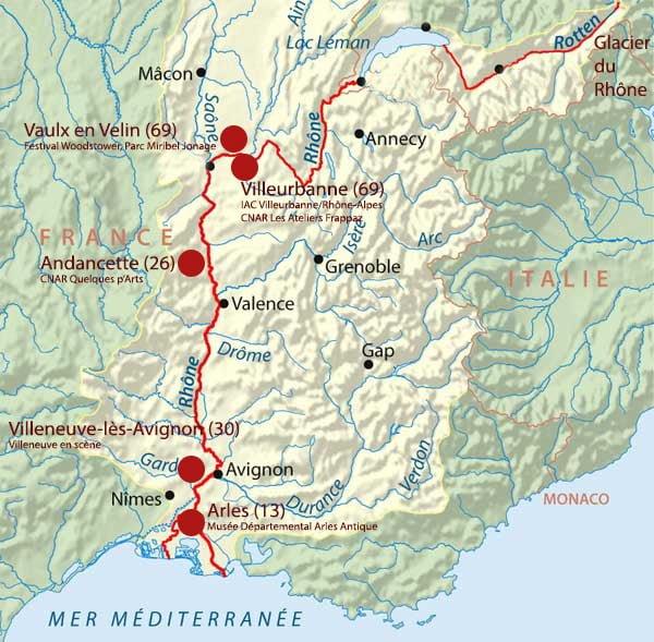 Carte de l'itinéraire d'Abraham Poincheval en bouteille