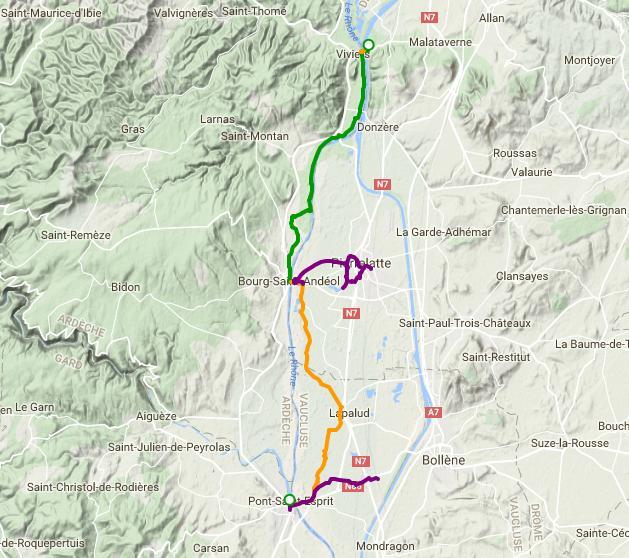 ViaRhôna de Châteauneuf-du Rhône – Bourg-Saint-Andéol à Lapalud