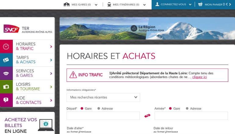 Web TER SNCF Auvergne-Rhône-Alpes