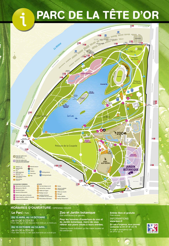Plan du parc de la tête d'Or