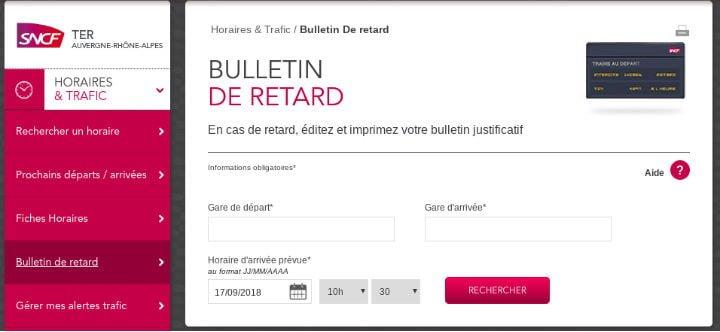 Bulletin de retard TER SNCF