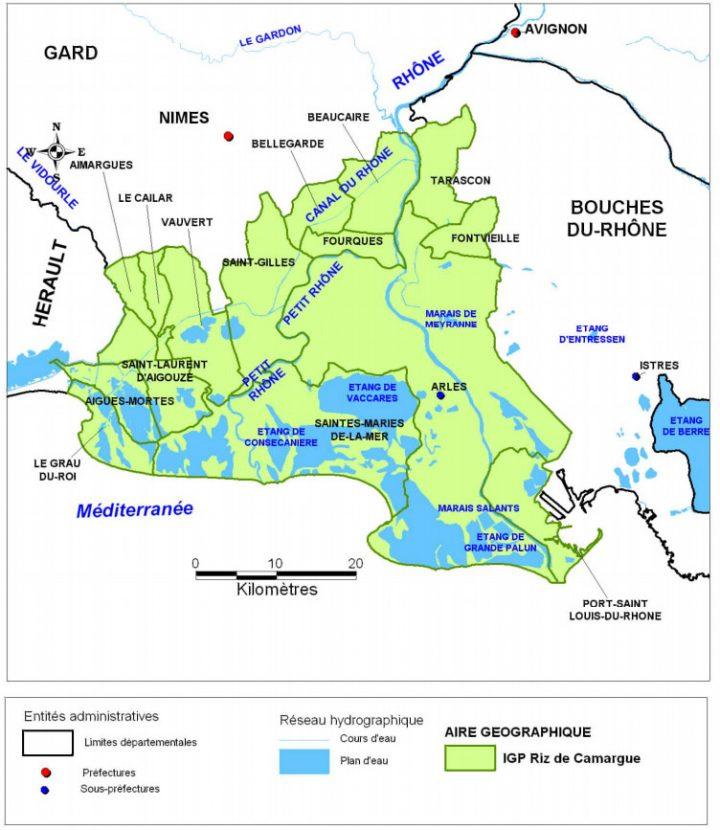 Carte IGP riz de Camargue