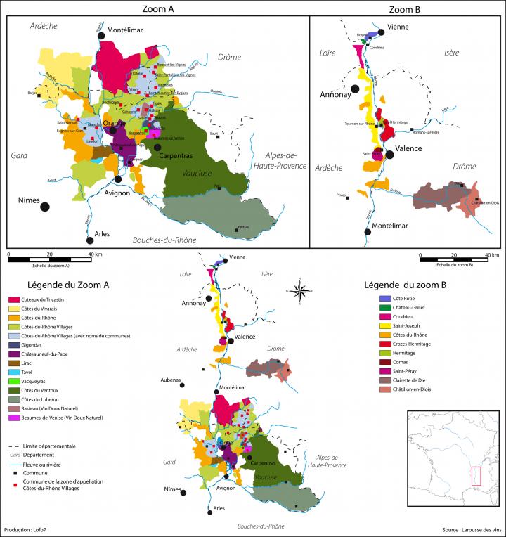 Carte des vignobles de la vallée du Rhône