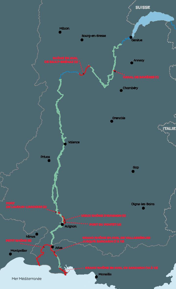 Carte concession du fleuve Rhône